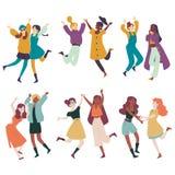 Διαφορετικές γυναίκες που έχουν τη διασκέδαση μαζί, πολυ εθνικά θηλυκά που πηδούν, χορός απεικόνιση αποθεμάτων