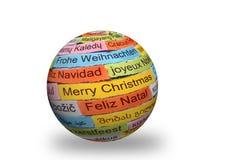 Διαφορετικές γλώσσες Χαρούμενα Χριστούγεννας στην τρισδιάστατη σφαίρα Στοκ εικόνα με δικαίωμα ελεύθερης χρήσης