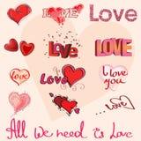 Διαφορετικές καρδιές και γράψιμο χεριών της αγάπης απεικόνιση αποθεμάτων