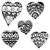 Διαφορετικές καρδιές Zentangl Στοκ Εικόνα