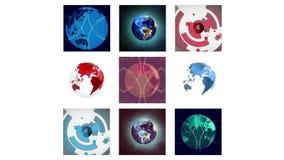 Διαφορετικές οθόνες που παρουσιάζουν σφαιρική γραφική παράσταση διανυσματική απεικόνιση