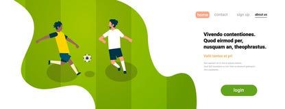 Διαφορετικές ομάδες ποδοσφαιριστών ποδοσφαίρου gameplay δύο στο επίπεδο διάστημα αντιγράφων εμβλημάτων έννοιας τομέων championchi διανυσματική απεικόνιση