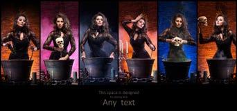 Διαφορετικές φωτογραφίες της νέας και όμορφης μάγισσας που κάνει witchcraft στο μπουντρούμι Στοκ φωτογραφία με δικαίωμα ελεύθερης χρήσης