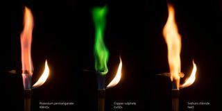 Διαφορετικές χρωματισμένες φλόγες του καψίματος των αλάτων Στοκ εικόνα με δικαίωμα ελεύθερης χρήσης