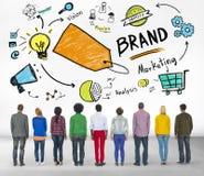Διαφορετική έννοια εμπορικών σημάτων μάρκετινγκ ανθρώπων οπισθοσκόπος Στοκ Εικόνες