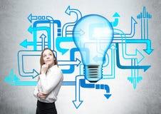 Διαφορετική επιχειρηματίας κατεύθυνσης lightbulb Στοκ Εικόνα