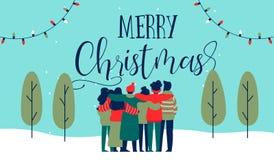 Διαφορετική ευχετήρια κάρτα αγκαλιάσματος ομάδας φίλων Χριστουγέννων διανυσματική απεικόνιση