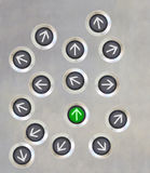Διαφορετική κατεύθυνση κουμπιών ανελκυστήρων Στοκ φωτογραφίες με δικαίωμα ελεύθερης χρήσης