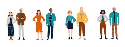 Διαφορετική ομάδα νέων ανά τα ζευγάρια διανυσματική απεικόνιση