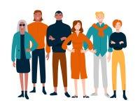 Διαφορετική ομάδα πορτρέτου νέων μαζί απεικόνιση αποθεμάτων