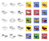 Διαφορετική περίληψη κρεβατιών, επίπεδα εικονίδια στην καθορισμένη συλλογή για το σχέδιο Έπιπλα για το διανυσματικό isometric Ιστ απεικόνιση αποθεμάτων