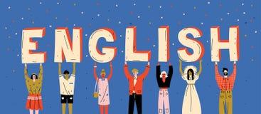 Διαφορετικοί άνθρωποι που κρατούν τη λέξη αγγλικά επιστολών Μάθετε τη ξένη γλώσσα διανυσματική απεικόνιση