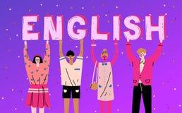 Διαφορετικοί άνθρωποι που κρατούν τη λέξη αγγλικά επιστολών Μάθετε τη γλώσσα απεικόνιση αποθεμάτων