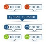 Διαφορετικοί πληροφοριοδότες Ιστού Πλαίσια με τα εικονίδια διανυσματική απεικόνιση