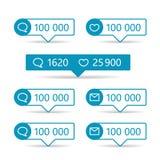 Διαφορετικοί πληροφοριοδότες Ιστού Πλαίσια με τα διανυσματικά εικονίδια απεικόνιση αποθεμάτων