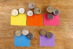 Διαφορετικοί σωροί ή σωροί των νομισμάτων με τις χρωματισμένες ετικέττες εγγράφου Στοκ εικόνα με δικαίωμα ελεύθερης χρήσης