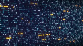 Διαφορετικοί τίτλοι ονομάτων cryptocurrency που εμφανίζονται μεταξύ των μεταβαλλόμενων δεκαεξαδικών συμβόλων σε μια οθόνη υπολογι απόθεμα βίντεο
