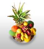 Διαφορετικοί τροπικοί καρποί της Χαβάης σε ένα πιάτο Στοκ Φωτογραφία