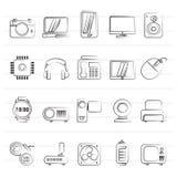 διαφορετικοί τύποι εικονιδίων ηλεκτρονικής Στοκ φωτογραφία με δικαίωμα ελεύθερης χρήσης