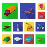 Διαφορετικοί τύποι επίπεδων εικονιδίων μεταφορών στην καθορισμένη συλλογή για το σχέδιο Διανυσματική απεικόνιση Ιστού αποθεμάτων  Στοκ εικόνες με δικαίωμα ελεύθερης χρήσης