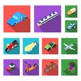 Διαφορετικοί τύποι επίπεδων εικονιδίων μεταφορών στην καθορισμένη συλλογή για το σχέδιο Isometric διανυσματικός Ιστός αποθεμάτων  Στοκ φωτογραφία με δικαίωμα ελεύθερης χρήσης