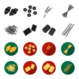 Διαφορετικοί τύποι ζυμαρικών Οι τύποι καθορισμένων εικονιδίων συλλογής ζυμαρικών στο Μαύρο, flet ορίζουν το διανυσματικό Ιστό απε Στοκ Εικόνες