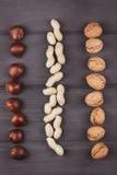 Διαφορετικοί τύποι καρυδιών: ξύλο καρυδιάς, φυστίκι, κάστανο σε ξύλινο Στοκ Εικόνα