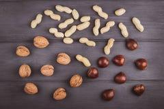Διαφορετικοί τύποι καρυδιών: ξύλο καρυδιάς, φυστίκι, κάστανο σε ξύλινο Στοκ Φωτογραφία