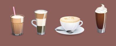 Διαφορετικοί τύποι καφέδων απομονωμένο καφές λευκό καταλόγων επιλογής scary καθορισμένο θέμα απεικονίσεων αποκριών απεικόνιση αποθεμάτων