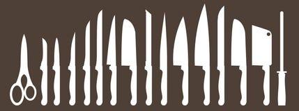 Διαφορετικοί τύποι μαχαιριών κουζινών Διανύσματα καθορισμένα Στοκ Εικόνα