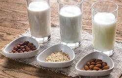 Διαφορετικοί τύποι μη γαλακτοκομικών γαλάτων στοκ εικόνα