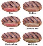 Διαφορετικοί τύποι μπριζολών βόειου κρέατος που απομονώνονται σε ένα άσπρο υπόβαθρο Στοκ εικόνες με δικαίωμα ελεύθερης χρήσης