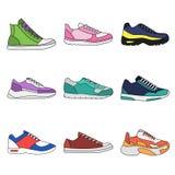 Διαφορετικοί τύποι σύγχρονων πάνινων παπουτσιών για την καθημερινή ένδυση απεικόνιση αποθεμάτων