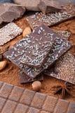 Διαφορετικοί τύποι φραγμών σοκολάτας Οργανική χειροτεχνική σοκολάτα στοκ φωτογραφία με δικαίωμα ελεύθερης χρήσης