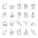 Διαφορετικός βασιλιάς των εικονιδίων 1 τροφίμων και ποτών Στοκ εικόνες με δικαίωμα ελεύθερης χρήσης