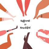 Διαφορετικός είναι όμορφος Διαφορετική ομάδα, πόδια ανθρώπων απεικόνιση αποθεμάτων