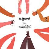 Διαφορετικός είναι όμορφος Διαφορετική ομάδα, όπλα ανθρώπων απεικόνιση αποθεμάτων