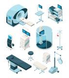 Διαφορετικός εξοπλισμός νοσοκομείων Ιατρικοί πίνακες και άλλες συσκευές απεικόνιση αποθεμάτων