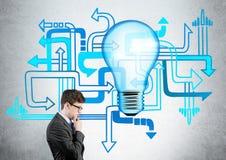 Διαφορετικός επιχειρηματίας κατεύθυνσης lightbulb Στοκ εικόνα με δικαίωμα ελεύθερης χρήσης