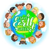 Διαφορετικός πλανήτης λαβής υπηκοοτήτων παιδιών ελεύθερη απεικόνιση δικαιώματος