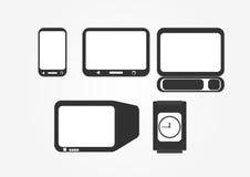 Διαφορετικός τύπος ηλεκτρονικών εξοπλισμών με την επίδειξη οθόνης Στοκ Εικόνες