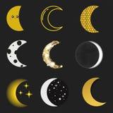 Διαφορετικός φεγγαριών φύσης κόσμου ολόκληρος κύκλος επιφάνειας κύκλων δορυφορικός από τη νέα διανυσματική απεικόνιση αστεριών Στοκ Εικόνες