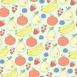 Διαφορετικό άνευ ραφής διανυσματικό υπόβαθρο φρούτων και μούρων Στοκ Φωτογραφία