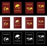 Διαφορετικό διανυσματικό καφέ διαβατήριο τέσσερα με τη σφαίρα Στοκ εικόνα με δικαίωμα ελεύθερης χρήσης