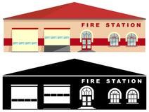 Διαφορετικό καλό κτήριο πυροσβεστικών σταθμών που απομονώνεται στο άσπρο υπόβαθρο στο επίπεδο ύφος: χρωματισμένη και μαύρη σκιαγρ Στοκ φωτογραφία με δικαίωμα ελεύθερης χρήσης