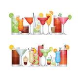 Διαφορετικό κοκτέιλ οινοπνεύματος Ποτά και ποτά Επίπεδο σχέδιο Διανυσματική απεικόνιση