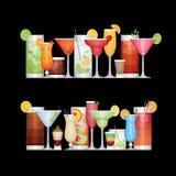 Διαφορετικό κοκτέιλ οινοπνεύματος στο μαύρο υπόβαθρο ποτά Απεικόνιση αποθεμάτων