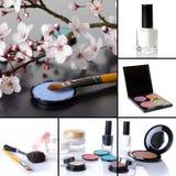Διαφορετικό κολάζ προϊόντων makeup Στοκ φωτογραφία με δικαίωμα ελεύθερης χρήσης