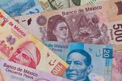 Διαφορετικό μεξικάνικο υπόβαθρο χρημάτων Στοκ φωτογραφία με δικαίωμα ελεύθερης χρήσης
