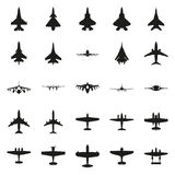 Διαφορετικό μονοχρωματικό σύνολο εικονιδίων αεροπλάνων Στοκ Εικόνες